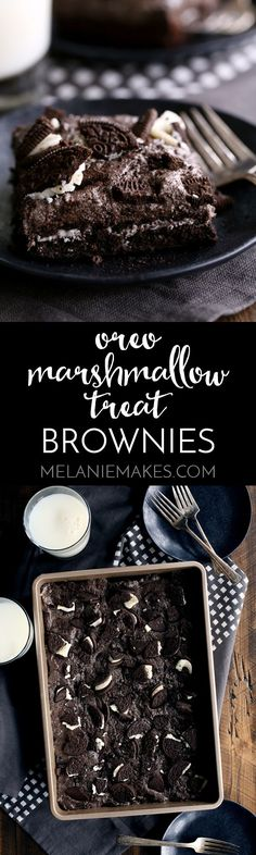 These Oreo Marshmallow Treat Brownies are what Oreo lovers dream about. A single pan of brownies that includes TWO packages of Double Stuf Oreos. Chocolate fudge brownies are topped with a layer of Oreos before being baked and then topped with an Oreo marshmallow treat mixture and even more Oreos.