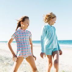 Girls Mint Pebble Long Sleeve Rashie | Sandy Feet Australia
