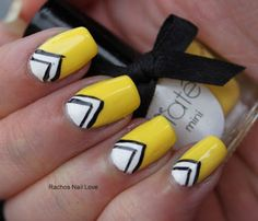 Inspiration on 'Half Moon' Nails by Rachael . Check out more Nails on Bellashoot. Pretty Nail Art, Cute Nail Art, Cute Nails, Heart Nail Art, Nail Candy, Striped Nails, Sinful Colors, Yellow Nails, Beauty Hacks