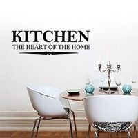 Vinyl Wall Decal Sticker Bedroom Kitchen the heart of the home Quote Family r1556