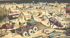 Das Bild stammt aus dem Heft Statsiia Luna (also Mondstation) von 1965 beziehungsweise. aus einem gleichnamigen Kinderbuch von 1974.