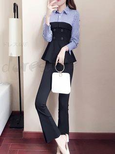 Modern Hijab Fashion, Street Hijab Fashion, Korean Girl Fashion, Korean Street Fashion, Suit Fashion, Muslim Fashion, Fashion Pants, Daily Fashion, Fashion Outfits