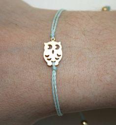 Tiny Gold Matt Owl Bracelet by lizaslittlethings on Etsy, $12.00