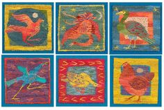 Six Birds. A Tapestry Weaving (the chicken is my favorite!)