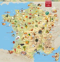 Map on French regional specialties - France has been my favorite country since junior high school. Someday I will visit and see my friends in person. France Map, France Travel, French Classroom, Thinking Day, Teaching French, French Teacher, French Lessons, Learn French, French Language