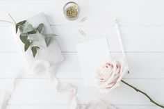 Flat lay blogger floral desk mock up by White Hart Design Co. on Creative Market