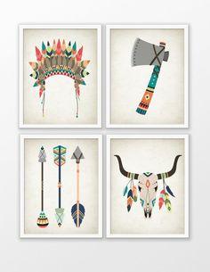 Tribal Nursery Art Print Set Of 4 - American Indian Tribal Nursery Art - Baby Shower Gift - Kids Playroom Decor - Tribal Animal Nursery #97