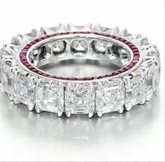 Buy Statement eternity band handcrafted 925 sterling silver red baguet White topaz ring at Wish - Shopping Made Fun Eternity Ring Diamond, Eternity Bands, Diamond Wedding Bands, Diamond Engagement Rings, Wedding Rings, Asher Cut Engagement Rings, Solitaire Rings, Solitaire Diamond, Wedding Set