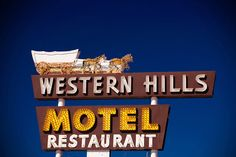 Western Hills Motel - Neon Covered Wagon And Horses - Route 66 Art - Retro…