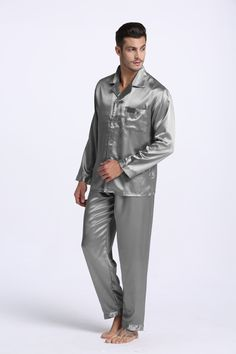 8968f6164f4f9 Sleep   Lounge Tony Candice Men S Stain Silk Pajama Set Pajamas Men  Sleepwear Modern Style Silk Nightgown Men Satin Size guide  M  Will fit  Chests Waists ...