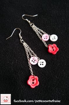 Earrings round buttons or flowers jewelry red pink white metal silver . Button Earrings, Round Earrings, Bead Earrings, Cute Jewelry, Jewelry Crafts, Beaded Jewelry, Silver Jewelry, Silver Rings, Recycled Jewelry