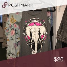 Elephant Tank Top Loose edgy elephant tank top! Only worn once and is awesome condition. H&M Tops Tank Tops