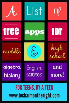 Free Apps for Middle High School Le Chaim on the right Grammar School, High School Algebra, High School Hacks, Life Hacks For School, Homeschool High School, School Classroom, Elementary Schools, Homeschooling, School Ideas