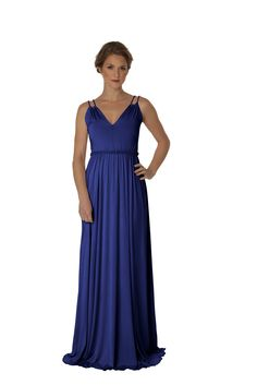 TAYLOR ROSE: Available in eggplant (size 8-10), cobalt blue (sizes 0-2, 4-6, 8-10, 12-14, 16-18), lavender (size8-10). Sample sale price $60 Subtle elegance defines the Taylor Rose v-neck goddess dress with double twisted rope spaghetti detail straps, long flowing a-line skirt and detachable jersey twisted rope belt. Perfect for those with smaller-medium sized chests, this style balances the upper and lower body.