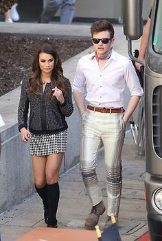 Lea Michele and Chris Colfer on the set of 'Glee' on May 1, 2014!