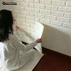 Idéias inspiradoras  Papel de parede com aparência de minis tijolos branco