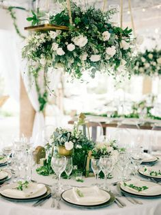 Lush greenery wedding reception, centerpieces, tablescape, white and green with gold, hanging floral chandelier - Table Settings Hanging Flowers Wedding, Hanging Wedding Decorations, Wedding Reception Flowers, Wedding Reception Centerpieces, Wedding Table, Reception Ideas, Wedding Ideas, Reception Food, Wedding Venues