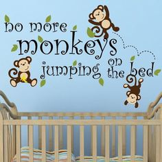 No More Monkeys Jumping Custom Color Wall Decal - Wall Sticker, Mural, & Decal Designs at Wall Sticker Outlet Wall Decor Lights, Kids Wall Decor, Nursery Wall Decals, Wall Murals, No More Monkeys, Wallpaper Decor, Peel And Stick Wallpaper, Wall Colors, Wall Stickers