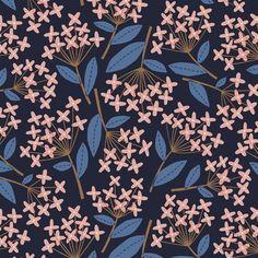 Blue and pink pattern. Textile Prints, Textile Patterns, Print Patterns, Textiles, Surface Pattern Design, Pattern Art, Flower Pattern Design, Palettes Color, Stoff Design