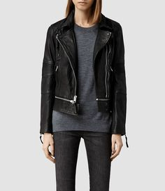 Womens Assembly Leather Biker Jacket (Black) - product_image_alt_text_1
