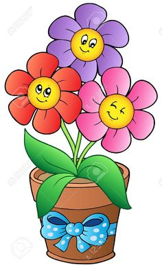 Pot with three cartoon flowers - vector illustration.