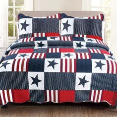 Americana Full/queen Quilt Set In Red/white - Give your room a patriotic touch with the Americana Quilt Set. Decked out in a patchwork design in shades of red, white and blue, the fun quilt is the perfect way to showcases your American pride. Twin Quilt, Quilt Bedding, Bedding Sets, Flag Quilt, Patriotic Quilts, Quilt Blocks, King Quilt Sets, Queen Quilt, Beige Bed Linen