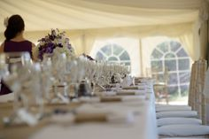 Plain Hessian Table Runners and Napkin Cuffs teamed with purple. Photo supplied byChris Snowden from Time Photographic Hessian Table Runner, Table Runners, Photo Supplies, Wedding Bunting, Napkin, Cuffs, Table Decorations, Purple, Home Decor