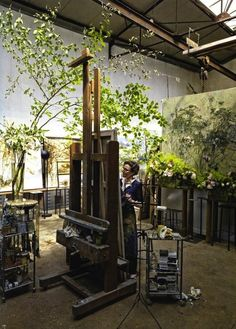 Weaving and Sewing room. Claire Basler in studioPLANTS. Weaving and Sewing room. Claire Basler in studio Home Studio, My Art Studio, Dream Studio, Painting Studio, Studio Spaces, Garden Studio, Studio Studio, Garden Art, Art Spaces