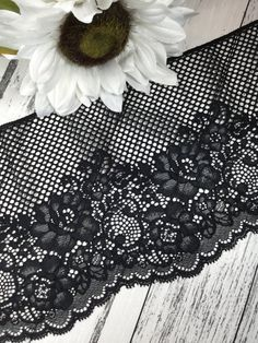 Black floral stretch mesh lace trim by the yard | Etsy Lace Trim Shorts, 100 Yards, Mesh, Trending Outfits, Unique Jewelry, Handmade Gifts, Floral, Color, Vintage
