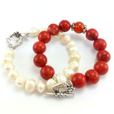Komplet bransoletek z kamieniami korala i perłami słodkowodnymi Beaded Bracelets, Jewelry, Fashion, Jewellery Making, Moda, Jewerly, Jewelery, Fashion Styles, Pearl Bracelets