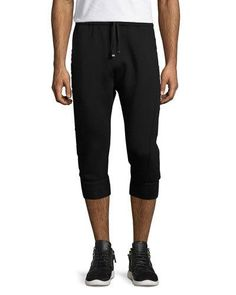 3D Logo Cropped Jogger Pants, Black