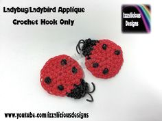 Rainbow Loom Ladybug/Ladybird Crochet Hook Only Applique - Loomless Amigurumi tutorial by Izzalicious Designs.