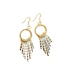 Silver Boho Chic Silver  Metal Round Circle With Tassels / Tasseled / Fringe  / Spikes / Long  Modern, Punk, Urban Edgy Statement Earrings