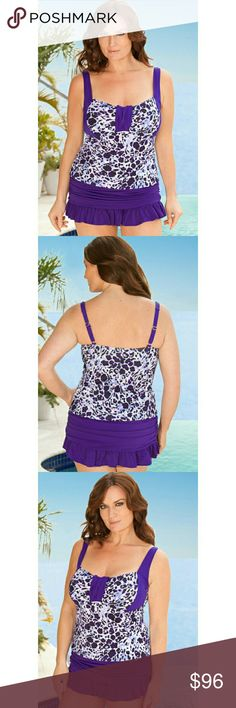 Infinity Blu 2-Piece Skirtini Plus Size Swimsuit Infinity?Blu is an exclusive fashion swimwear collection made specifically for full-figured women and inspired to provide women with fashion and style they deserve.  Soft cup molded bra with encircled 1? plush empire band gives full bust support Tab front, color blocked neckline enhances bust Empire waist visually minimizes your tummy Print breaks up torso and visually slims waist Shirred ruffle skirt with attached panty minimizes rear and…