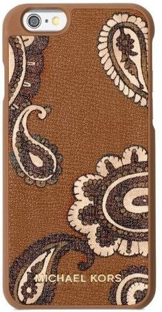 Michael Kors Brown Paisley Print Leather Iphone 6 Snap On Case Paisley Print, Iphone 6, All In One, Michael Kors, Nude, Brown, Leather, Shopping, Chocolates
