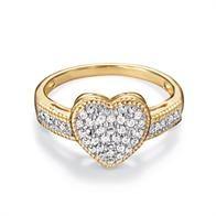 18K Gold-Plated Diamond Heart Ring