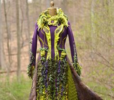 Green purple sweater Coat with beaded appliqué and by amberstudios