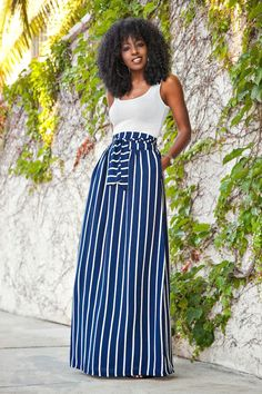 Fitted Tank + Vertical Stripe Maxi Skirt