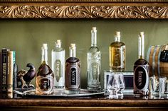 The Variance Set of 6 - Etched Glass Spirit Decanters accessories for your home bar, bar cart, or gift for a booze enthusiast