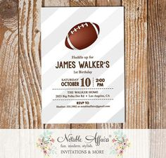 Huddle Up Super Bowl Gray Diagonal Stripes Football Quarterback Birthday Party Invitation - choose your colors by NotableAffairs
