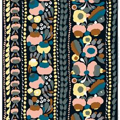 Marimekko's Tuppura fabric features linear compositions of beautiful buds and blooms. The rich floral pattern, designed by Aino-Maija Metsola, has a cool colour palette of black, grey and blue with pops of peach, warm brown and pale yellow.