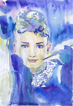 Audrey Hepburn art , celebrity portraits, old hollywood watercolor painting, audrey hepburn print, movie art, girl painting, movie star  This is a print