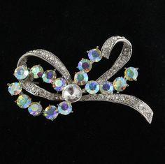 Aurora Borealis Rhinestone Bow Pin Brooch by FancyNancyVintage, $37.00