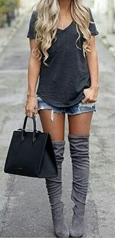 #thanksgiving #fashion · Black Tee // Ripped Denim Short // Grey Over The Knee Boots // Black Leather Tote Bag