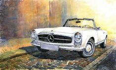 Mercedes Pagoda For Sale | Mercedes Benz W113 280 Sl Pagoda Front Painting - Mercedes Benz W113 ...