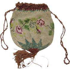 Antique Victorian Micro Beaded Drawstring Purse w Roses & Tassel