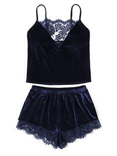 DIDK Women s Lace Trim Velvet Bralette  amp  Shorts Pajama Se... https  d064662be