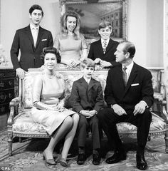 Queen Elizabeth II, Duke of Edinburgh and their four children - Prince Charles, Princess Anne, Prince Andrew and Prince Edward.