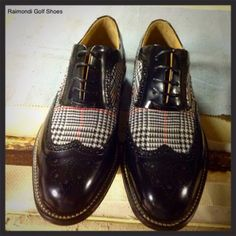 Raimondi Walking Shoes.. linea passeggio.. Modello Milano abrasivato nero con inserto in tessuto Principe di Galles  #raimondigolfshoes #golfshoes #italiangolfshoes #madeinitaly #handmadeinitaly #italianstyle #walkingshoes #man #woman #italy