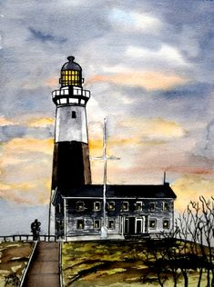 Montauk Point Lighthouse nautical seascape watercolor painting art print see more at http://www.derekmccrea.50megs.com
